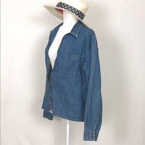 Bill Blass denim zippered shirt size Large